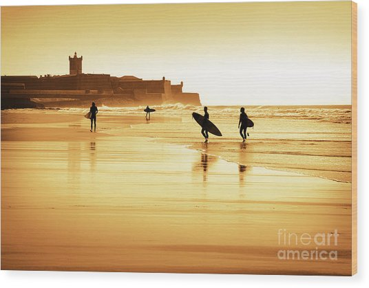 Surfers Silhouettes Wood Print
