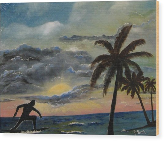 Surfers Sunset Wood Print