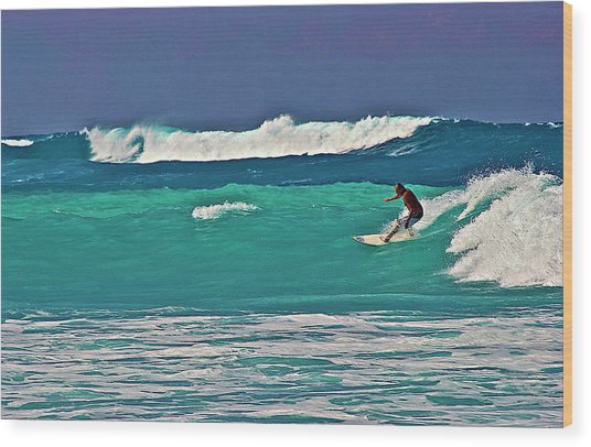 Surfing At Anaeho'omalu Bay 2 Wood Print