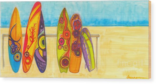 Surfing Buddies - Surf Boards At The Beach Illustration Wood Print