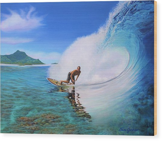 Surfing Dan Wood Print