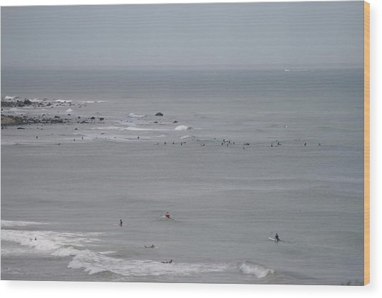 Surfing Ditch Plains Montauk Wood Print