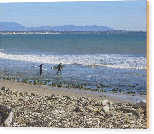 Surfing In Ventura Ca Wood Print by Robin Hernandez