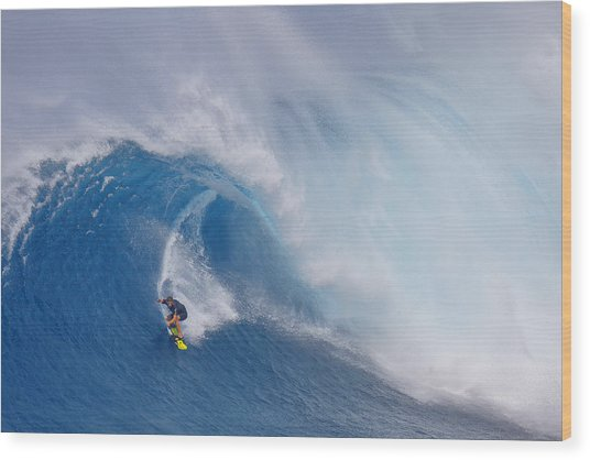 Surfing Jaws Wood Print