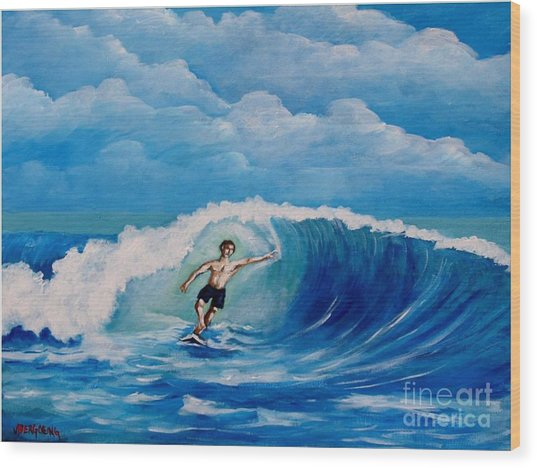 Surfing On The Waves Wood Print