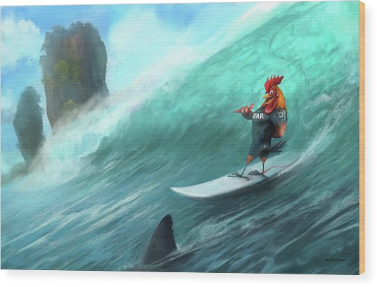 Surfing Rooster Wood Print