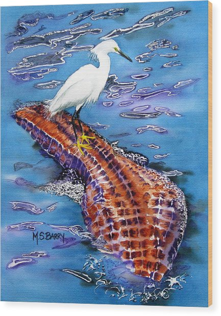 Surfing The Gator Wood Print by Maria Barry