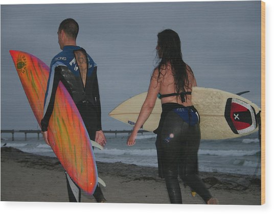 Surfrers Wood Print by Brenda Myers