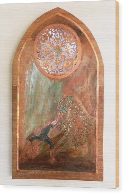 Wood Print featuring the mixed media Surge by Shahna Lax
