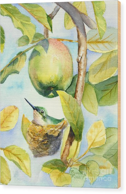 Surprise In The Apple Tree Wood Print