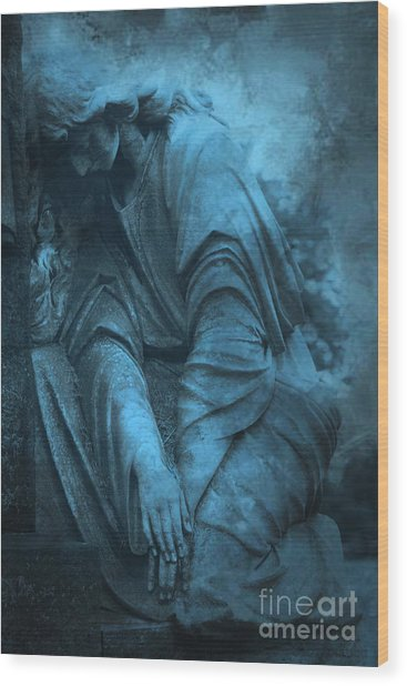Surreal Cemetery Grave Mourner In Blue Sorrow  Wood Print by Kathy Fornal
