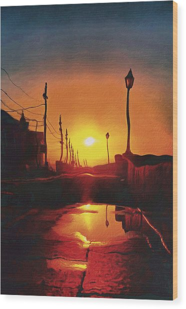 Surreal Cityscape Sunset Wood Print