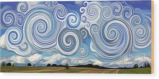Surreal Cloud Blue Wood Print