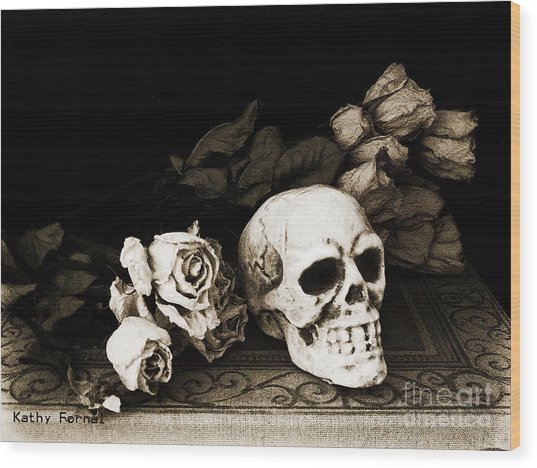 Surreal Gothic Dark Sepia Roses And Skull  Wood Print