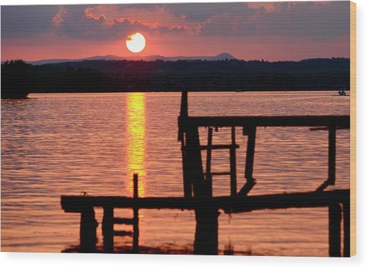 Surreal Smith Mountain Lake Dockside Sunset 2 Wood Print