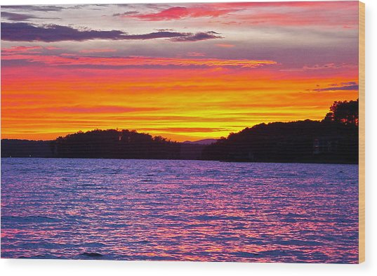 Surreal Smith Mountain Lake Sunset 2 Wood Print