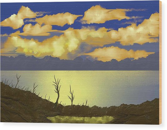 Surreal Sunset Wood Print by Tony Rodriguez