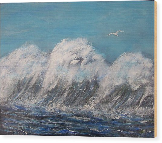Surreal Tsunami Wood Print by Tony Rodriguez