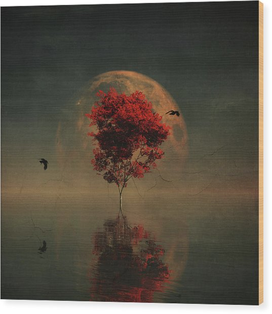 Surrealistic Landscape With Red Mapple And Full Moon Wood Print