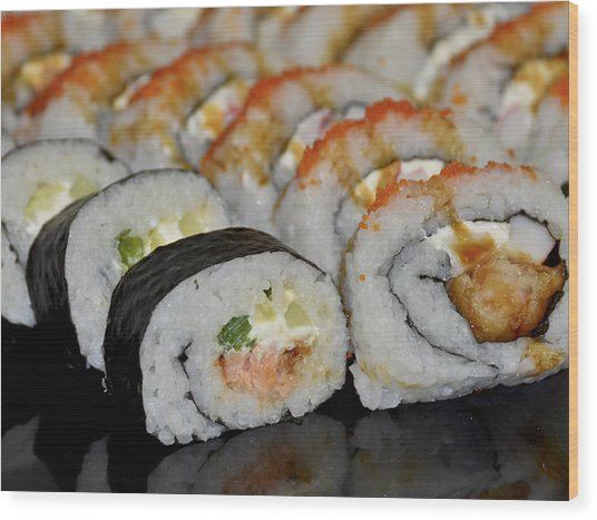Sushi Rolls From Home Wood Print