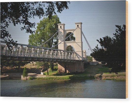 Suspension Bridge-waco Texas Wood Print