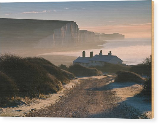 Sussex Coast Guard Cottages Wood Print