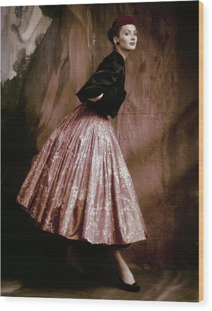 Suzy Parker In Givenchy Full Skirt Wood Print by John Rawlings