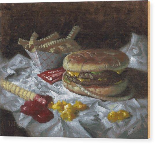 Suzy-q Double Cheeseburger Wood Print by Timothy Jones