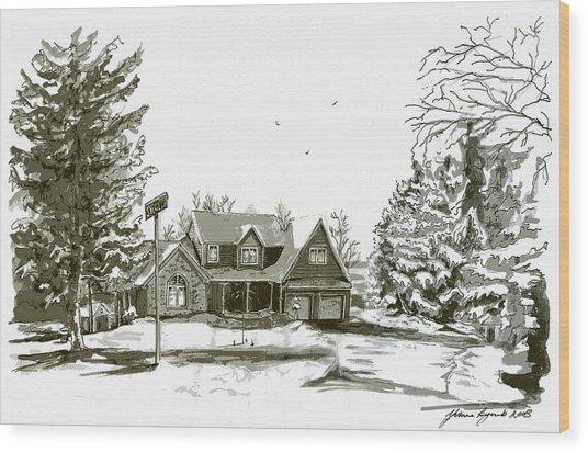 Svege Ny In Winter Wood Print by Yvonne Ayoub