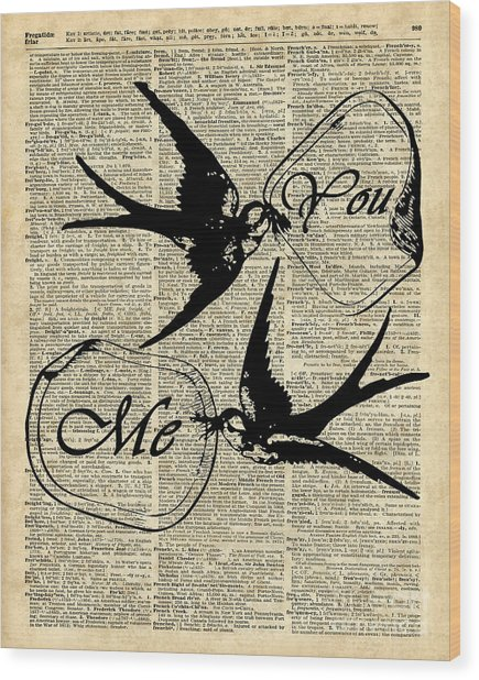Swallows In Love,flying Birds Vintage Dictionary Art Wood Print
