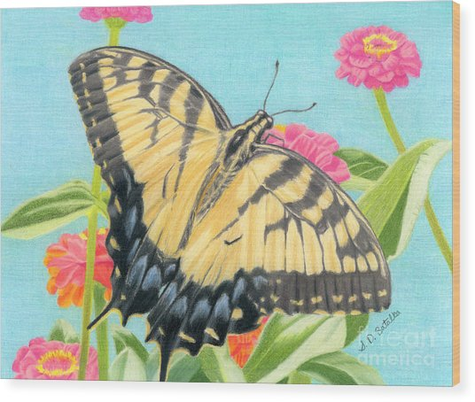 Swallowtail Butterfly And Zinnias Wood Print