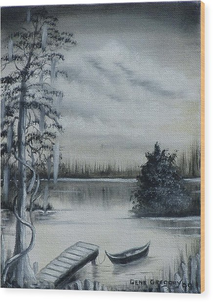 Swamp Boat Wood Print