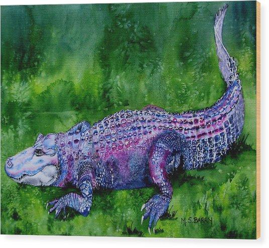 Swamp Gator Wood Print by Maria Barry