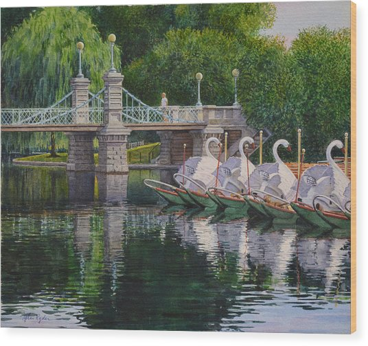 Swan Boats Boston Common Wood Print