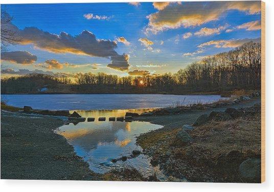 Swan Lake Sunset Wood Print