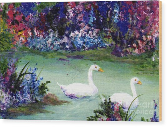 Wood Print featuring the mixed media Swan Lake by Writermore Arts