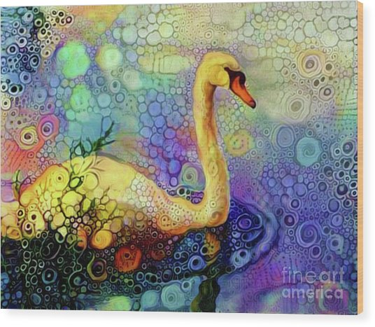 Swan Spectacular Oil Wood Print