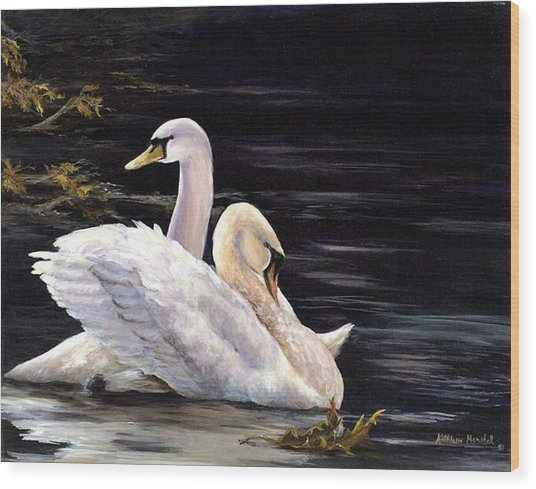 Swansong Wood Print by Kathleen Marshall McConnell
