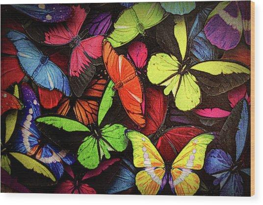 Swarm Of Butterfles  Wood Print