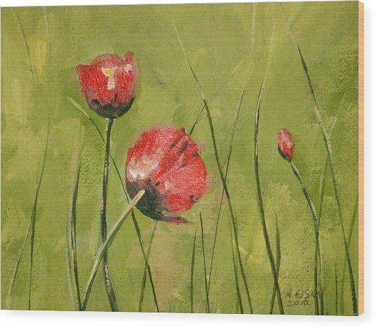Swaying Poppies Wood Print