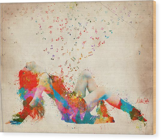 Wood Print featuring the digital art Sweet Jenny Bursting With Music by Nikki Smith