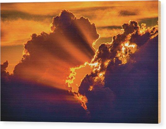 Sweet Nebraska Crepuscular Rays 010 Wood Print
