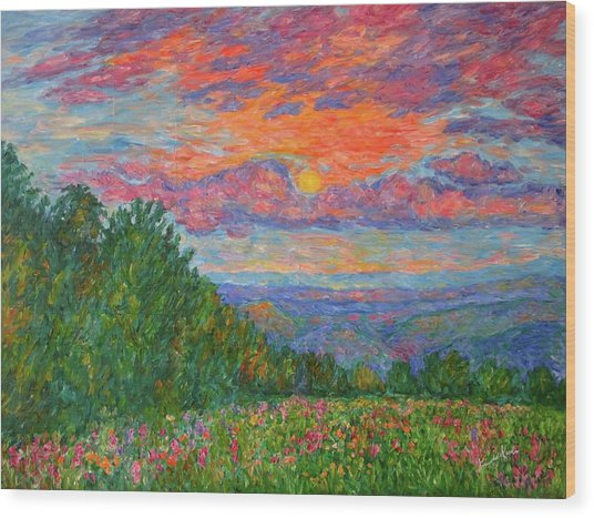 Sweet Pea Morning On The Blue Ridge Wood Print