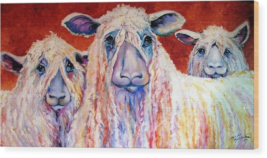 Sweet Wensleydales Sheep By M Baldwin Wood Print by Marcia Baldwin