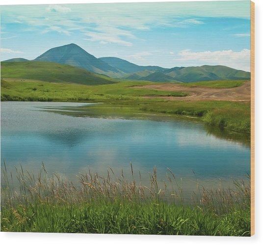 Sweetgrass Hills Fishing Hole Wood Print