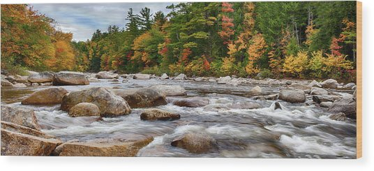 Swift River Runs Through Fall Colors Wood Print