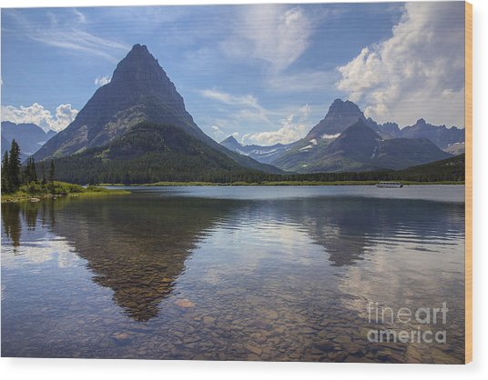 Swiftcurrent Lake And Mount Grinnell Wood Print