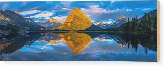 Swiftcurrent Lake Sunrise Panorama Wood Print
