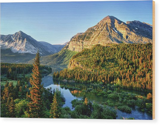 Swiftcurrent Morning Wood Print by Renee Sullivan
