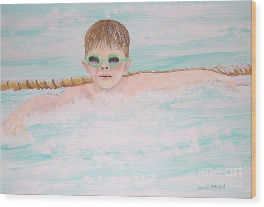 Swim Meet Wood Print by Janna Columbus